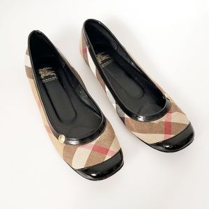 Burberry Patent Leather Toe Plaid Ballet Flats 37
